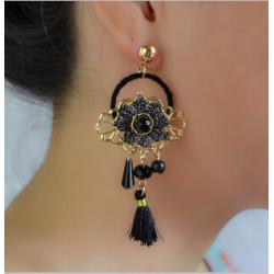 E-4229 4Colors New Fashion Women Fringe Tassel Drop Earring Gold Alloy Flower Shape Earrings Party Jewelry