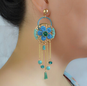 E-4227 2Colors New Fashion Women Fringe Tassel Drop Earring Gold Alloy Flower Shape Earrings Party Jewelry
