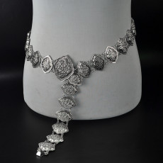 N-6906 Bohemian Retro Tribal Body Jewelry Gypsy Silver Plated Alloy Carved Flower Belly Body Chain Waist Summer Chain