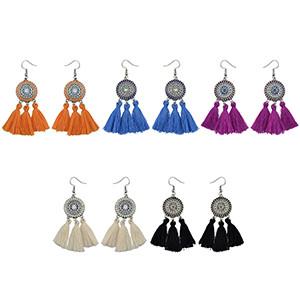 E-4231 5 Colors Silver Flower Alloy diamante thread Tassel pendant Earrings For Women