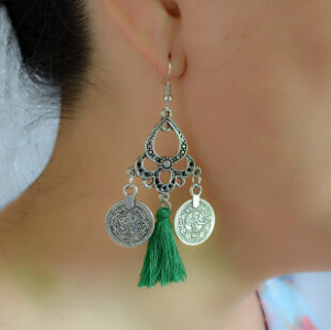 E-4234 4 Colors Silver Alloy Coin Drop Dangle Pendant Fringe Tassel Ear Jewelry Earrings For Women