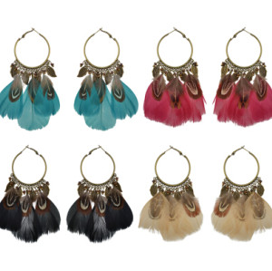 E-4235 4 Colors New Fashion Bohemian Feather Drop Earrings Women Anniversary Party Jewelry Gift