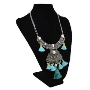 N-6908 Bohemian Fashion Silver Plated Chain  Beads Rhinestone Tassel Necklace For Women Jewelry