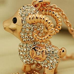 N-5281 Chain Coin Tassels Full Rhinestone Lamb charm sheep Pendant gaot Necklace