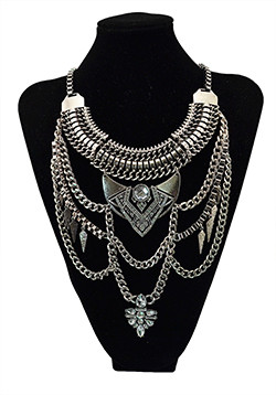 N-5700 Boho Vintage Silver Multi layer Chains Necklace Gold Perfumes Jewelry Gypsy Charm Crystal Rhinestone Flower Pendants & Necklaces