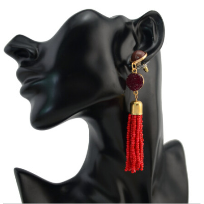 E-4237 5 Colors Fashion Resin Beads Tassel Statement Drop Earrings for Women Bridal Wedding Party Jewelry
