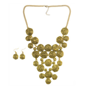 N-6218 Bohemian Vintage Gold long chain Round Pendant Necklace Statement Necklaces set for Women
