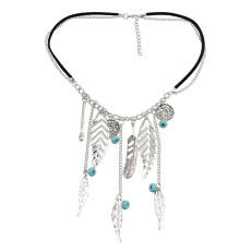 N-5356  Fashion Boho Leaves Turquoise Tassel Pendant Charm Necklace jewelry