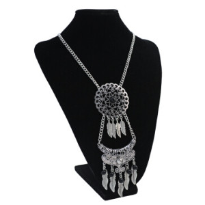N-5757 Boho Vintage Silver Leaf Beads Chains Necklace Perfumes Jewelry Gypsy Charm Crystal Rhinestone Flower Pendants & Necklaces