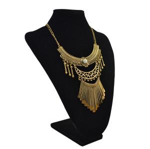 N-5572  Vintage Gold plated Tassel Bead Pendant Charm Bohmeian Necklace