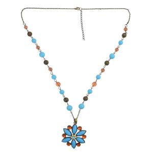 N-0133 Bohemian Fashion  Bronze Crystal Rhinestone Blue Flower Tassel Pendant  Necklace For Women Jewelry