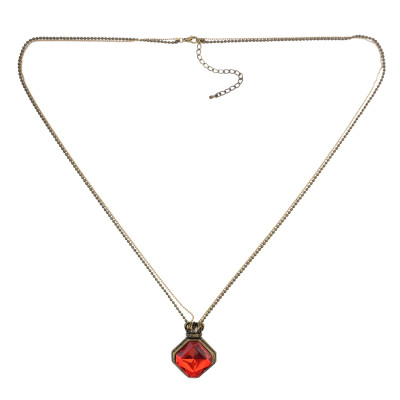 N-0531  Fashion Puck Long Chain Gem Pendant Charm Necklace jewelry