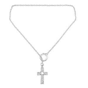 N-0531  Fashion  Long Chain Cross Crystal Pendant Charm Necklace jewelry