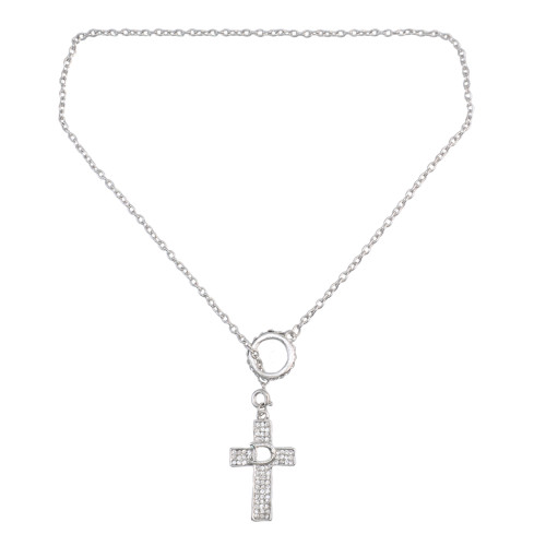 N-0505 Fashion  Long Chain Cross Crystal Pendant Charm Necklace jewelry