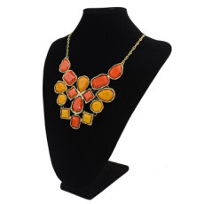 7 Colors Long Gold Chain Stone Pendant Natural Stone Necklace For Women