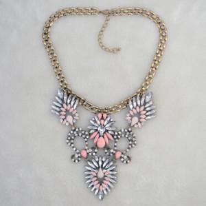Fashion Long Gold Chain Stone Pendant Diamante Stone Necklace For Women Jewelry