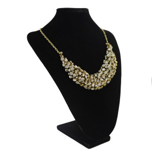 N-1296 New Bronze Chains Shinning Crystal Rhinestone Handcraft Choker Bib Necklace