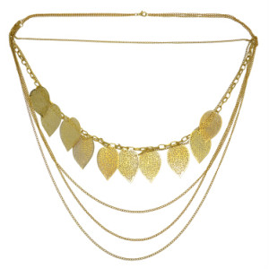N-0122 2 Colors Multilayer Leaf Pendant Necklaces for Women Bohemian Party Anniversary Jewelry Gift