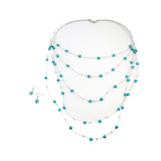 N-5543 Bohemian silver multi-layered chain crystal bead turquoise gem stone pendant women necklace earring jewelry set
