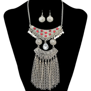 N-6301 New Fashion Full Rinestone Crystal Statement Necklace Earring Jewelry Sets For Women Bridal Party Jewelry