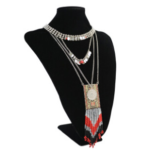 N-6224 Bohemian silver multi-layered chain Tassel beads pendant women necklace For Women