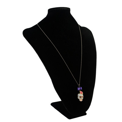 N-2869 New BJ Punk Charming Pink Rose Gold Plated Chain Rhinestone Skull Necklace