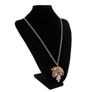 N-2884 Silver Plated Pink Rhinestone Favorite Amimation Glass Girl Necklace Pendant