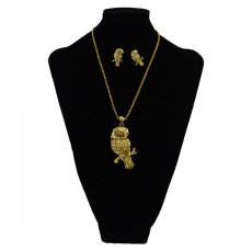 N-6079 Vintage Gold long chain owl  Pendant Necklace Earring Jewelry set for Women