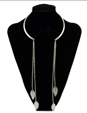 N-2017 Fashion Lady Silver Gold Metal Leaf Pendant Long Tassel Necklaces for Women Bohemian Party Jewelry