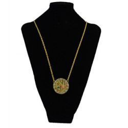 N-2285 Vintage Gold plated Rhinestones Round Pendant Charm Bohmeian Necklace For Women Jewelry