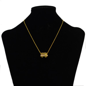 N-2317 Fashion Korea Style Bus Shape Colorful Crystal Drop Dangle Chain Bead Necklace for Women Gift