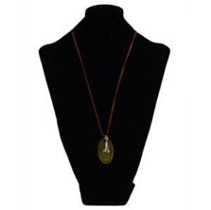 N-2305 New Bohemian Vintage Long Leather Chain Oval Pendant Necklace For Women