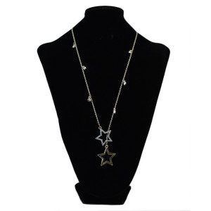 N-2323  Fashion Long Chain Rhinestone Gold&Silver Tone Double Star Pendant Necklace