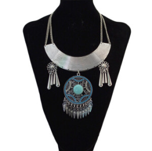 N-5409 Bohemian Vintage Silver Turquoise Rhinestone Pendant Necklaces for Women Party Anniversary Gift