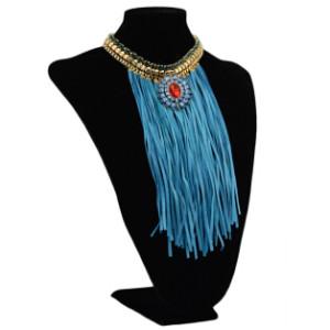 N-5829 New Fashion Gold Alloy Chain Diamante Pendant Tassel Necklace