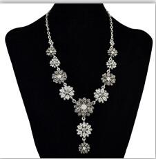N-6134 Fashion Bohemian Vintage Metal Rhinestone Flower Statement Necklaces for Women Bohemian Wedding Party Jewelry
