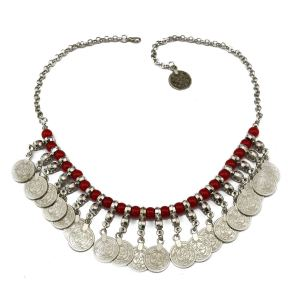 N-5548 New Fashion Bohemian Beads Chain Coin Pendant Statement Necklace For Women Jewelry