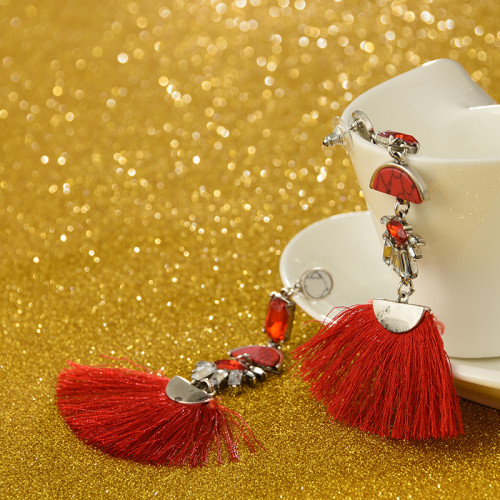 E-4239 2Colors Fashion Bohemian  Crystal Stone Thread Tassel Drop Earrings Party Jewelry