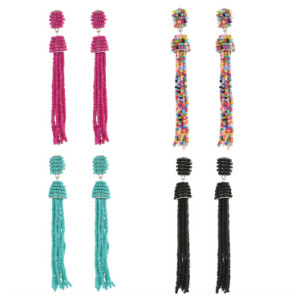 E-4242 Fashion 4 Colors Women Beads Chain Tassel Drop Earrings Bohemian Wedding Party Jewelry Gift