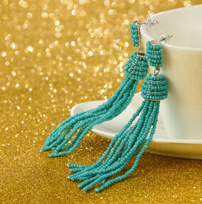 E-4242 Fashion 4 Colors Women Beads Chain Tassel Drop Earrings Bohemian Wedding Party Jewelry Gift