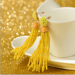 E-4243 4 Colors Gold Alloy Beads Chain Tassel Drop Dangle Pendant For Charm Women Jewelry