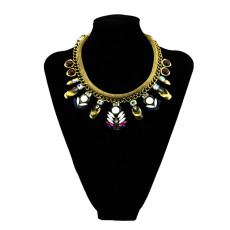 N-5500New Design Gold Plated Bohemian  Various shapes gem stone  Crystal Necklaces