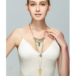 N-6250 European Ethnic Gold Silver Fashion Necklaces Inlay Natural Turquoise Tassel Chain Long Necklace