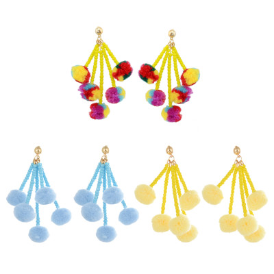 E-4241 3 Colors New Arrive Fashion Bohemian Bead Taasel Ball Dangle Earring for Women Party Accessories