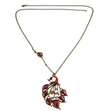 N-3306 New Vintage Long Chain Bronze Faux Red Opal Rhinestone  Peacock Pendant Necklace For Women