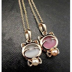 N-3325 New  Long Chain Pearl Cat Pendant Necklace For Women