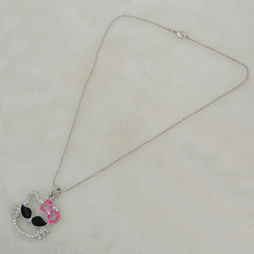 N-3320 New Charming Clear Rhinestone Bowknot Wear Glass Cat Pendant Necklace