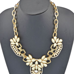 N-3501 New Fashion Style gold plated metal link chain resin gem flower rhinestone choker necklace