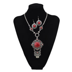 N-5660 New Fashion Bohemian Vintage Style Turquoise Bead Tassel Pendant Necklace For Women Earrings & Necklace Jewelry Set