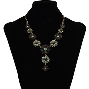 N-6134 Fashion Gold Necklaces & Pendants Charm Crystal Rhinestone Flower Tassel Long Necklace Women Jewelry